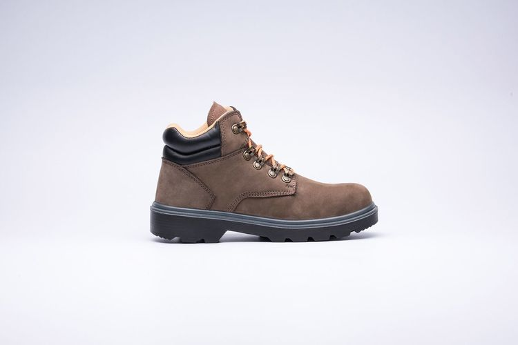 Safety boots Brown Boots Isolated Boots Safety Shoe Studio Shot Shoelace Pair Fashion White Background Menswear Close-up