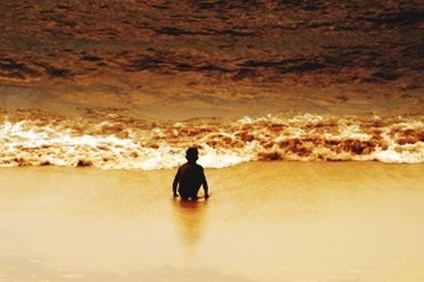 Brazil beach child Sunset Sea One Person Silhouette Outdoors Real People