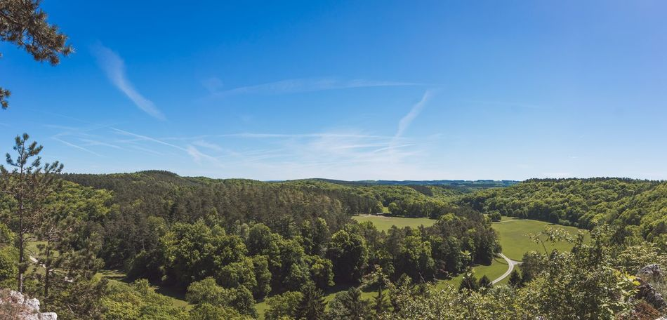 Forested valley panorama Agriculture Cloud Countryside Field Flora Grass Han-sur-lesse Hill Landscape Mountain Nature No Person Outdoors Panorama Panoramic Rural Scenics Sky Summer Travel Tree Trees Valley Wide Wood