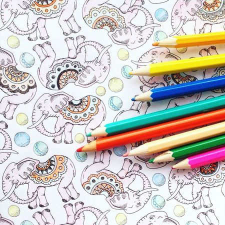 Pattern Pieces Elephant Elephants Colors Colours Colouring  Colouring Book Coloring Colouring Book Pencil Pencils Past Time Hobby Repeat Repetition Mindfulness Blue Yellow Orange Print Pattern