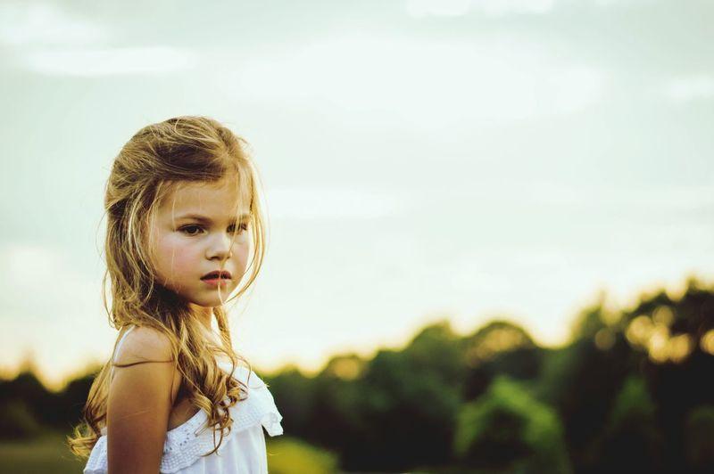 Beautiful Girl Against Sky