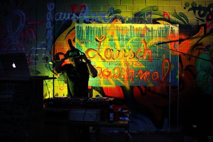 Colors Dj Kunstausdruck Art Arts Culture And Entertainment Built Structure Color Graffiti Guitar Illuminated In_pics_i_trust Indoors  Livemixing Music Musical Instrument Musician Neon Night People Pioneerdj Real People Sound Recording Equipment Text