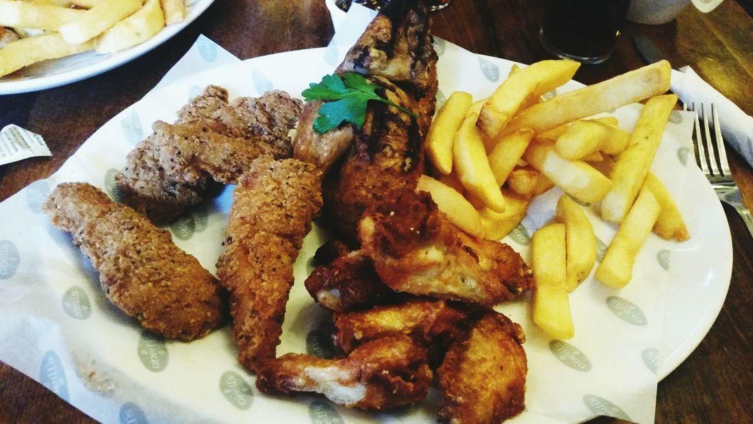 Foodporn Food Mmm Half roast chicken, southern fried chicken and chicken wings mmmmmm