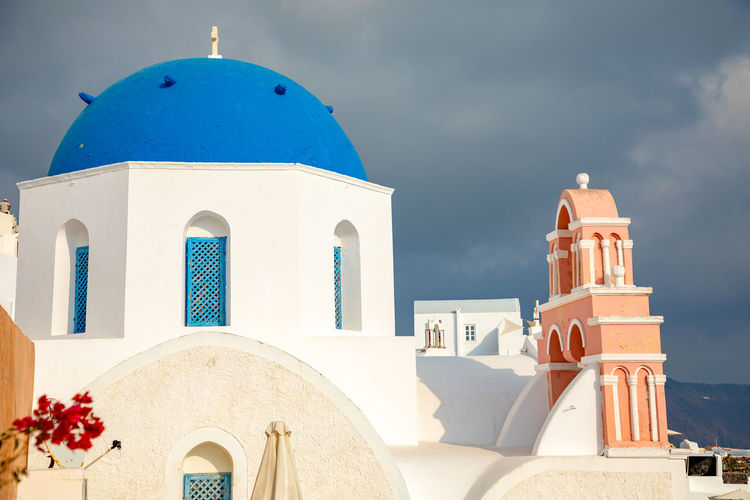 Greece Santorini Oia Thira Architecture Building Exterior Place Of Worship Religion Built Structure Belief Spirituality Building Dome No People Sky Nature Arch Cross Travel Destinations White Color Blue