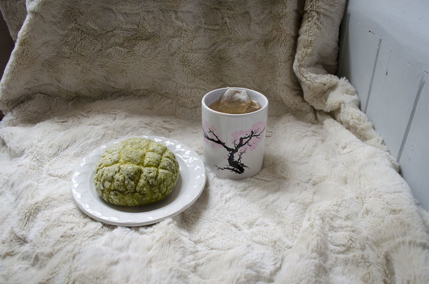 Melon bread and tea Breakfast Cherry Blossoms Tea Bread Cozy Food And Drink Freshness High Angle View Indoors  Melon