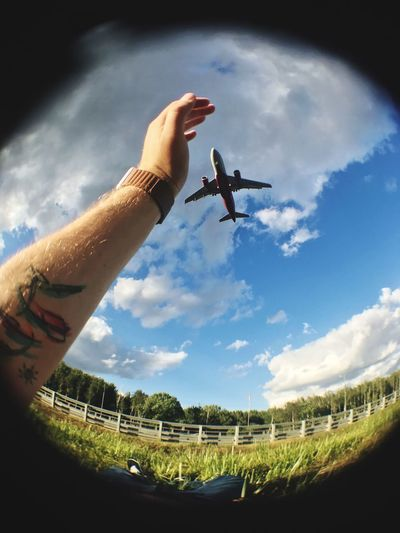 arrival in the summer Cloud - Sky Sky Human Hand One Person Hand Human Body Part Summer In The City Flying Nature Men Lifestyles Body Part Day