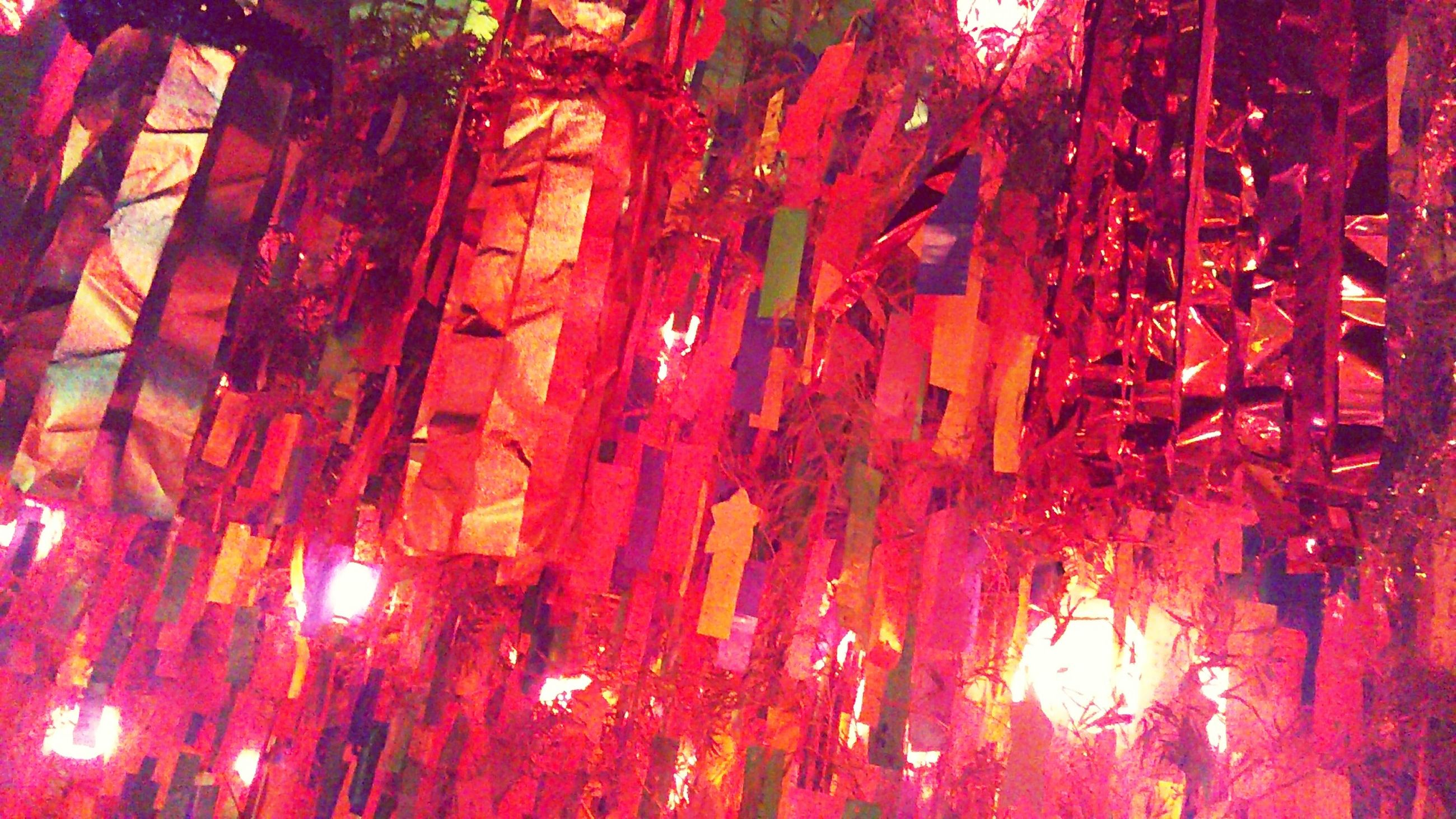 low angle view, hanging, close-up, full frame, red, illuminated, decoration, vibrant color, no people