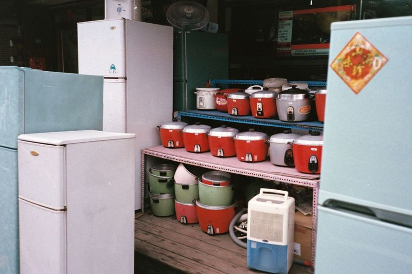 Appliances ASIA Cute Datong Display Fridge Household Household Objects Households Large Group Of Objects Multi Colored No People Old But Awesome Old Goods Old-fashioned Red Refrigerator Retail  Retro Rice Cooker Shop Shops Still Life Store Taiwan