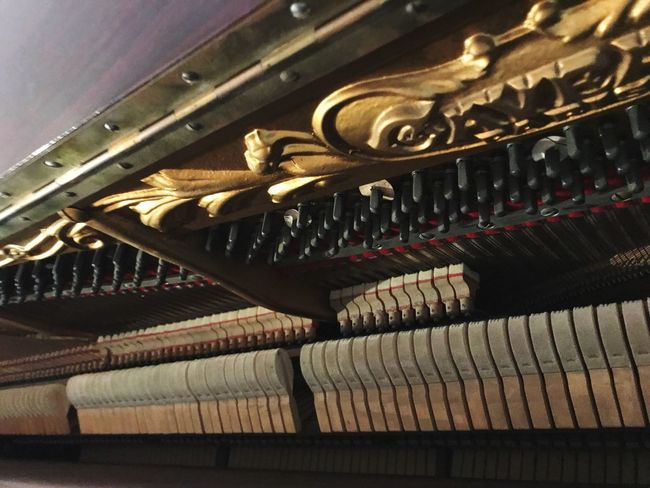Gold Colored Ornate Musical Instrument Music Indoors  Low Angle View Close-up No People Spirituality Gold Day Old Piano Old Piano Instrument Musique