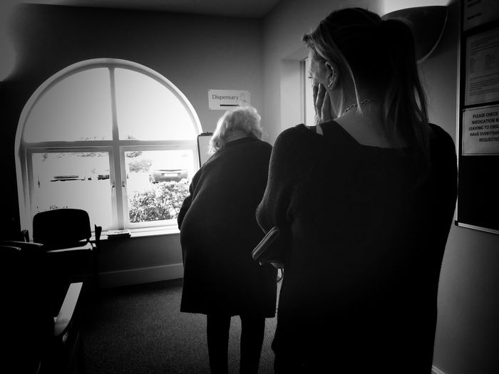 Waiting at the surgery Indoors  Two People Waiting Queue Women Standing People Lifestyles Blackandwhite Black & White EyeEm Best Shots Human Black And White Collection