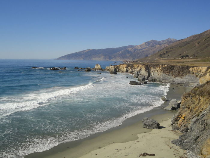This picture stands for the great experience we had traveling from San Francisco down to LA. We simply love California - and the picture shows one of the reasons why... America Beach Beauty In Nature Big Sur Blue Breaking Waves California Clear Sky Clear Views Coast Horizon Route 101 Sand Sea Travel Destinations Water Wave