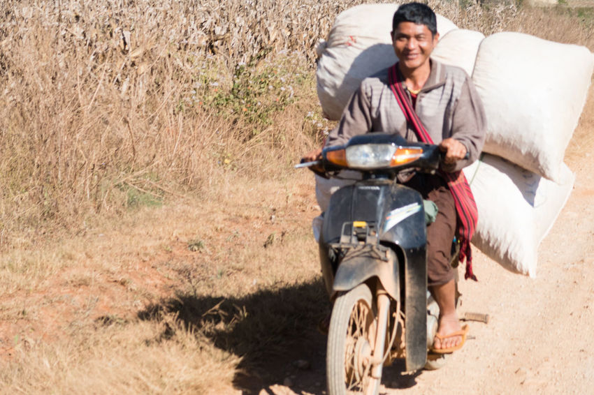 Agriculture Biker Day Dirt Road Farming Heavy Load Kalaw To Inle Lake Looking At Camera Motorcycle Myanmar Myanmarphotos One Person Outdoors Smiling Transportation Transportation Trek Kalaw-inle