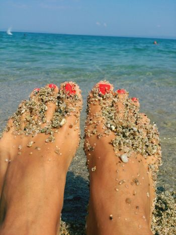 Feet Beach Sand See Girlfriend Toes Red Toes Red Nails Nail Polish Foot Red Polish Mediterranean  Greece GREECE ♥♥ TassosIsland Best EyeEm Shot Sexylegs Sexy♡ Beautiful Beautiful Woman