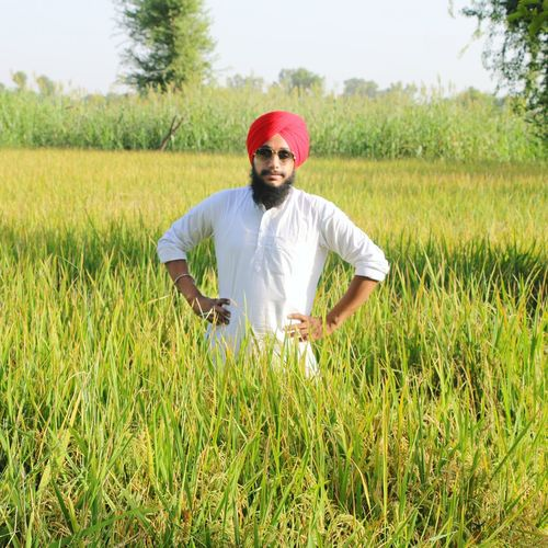 Portrait Of Farmer Wearing Turban While Standing At Farm