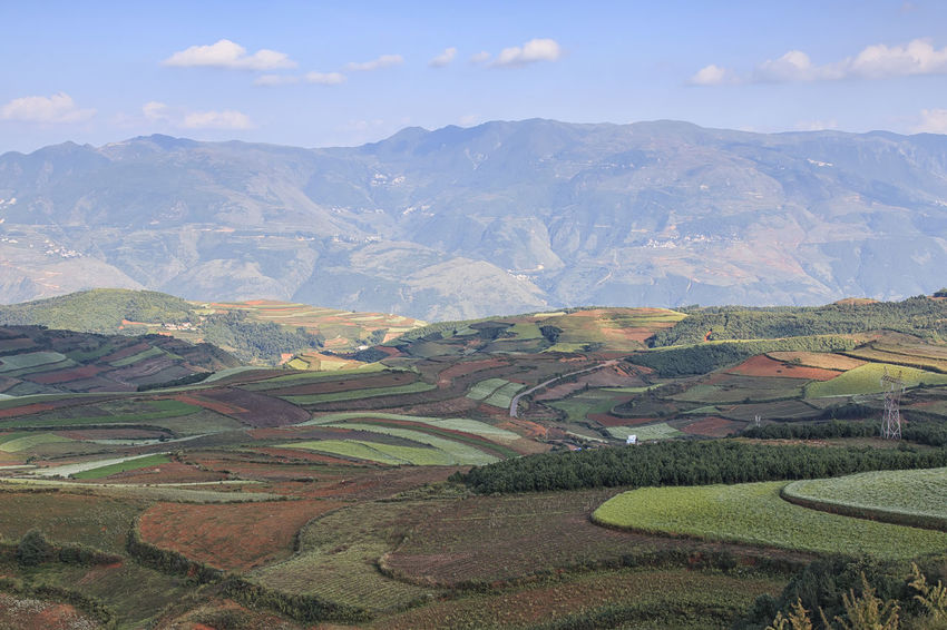DongChuan red land panorama, one of the landmarks in Yunnan Province, China Agriculture Agriculture ASIA Autumn Beauty In Nature China Cloud - Sky Day Dongchuan High Angle View Kunming Landscape Mountain Mountain Range Nature Non-urban Scene Outdoors Red Land Rural Scene Scenics Sky Terraces Tranquil Scene Tranquility Yunnan