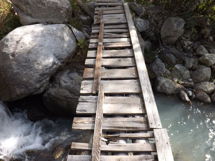Bridge Water The Way Forward Pier Wooden River Day Footbridge Narrow Deterioration Nature Outdoors Long Waterfront No People Tranquil Scene Weathered Tranquility Boardwalk Solitude Adventure Hill Geology Natural Landmark Town Finding New Frontiers