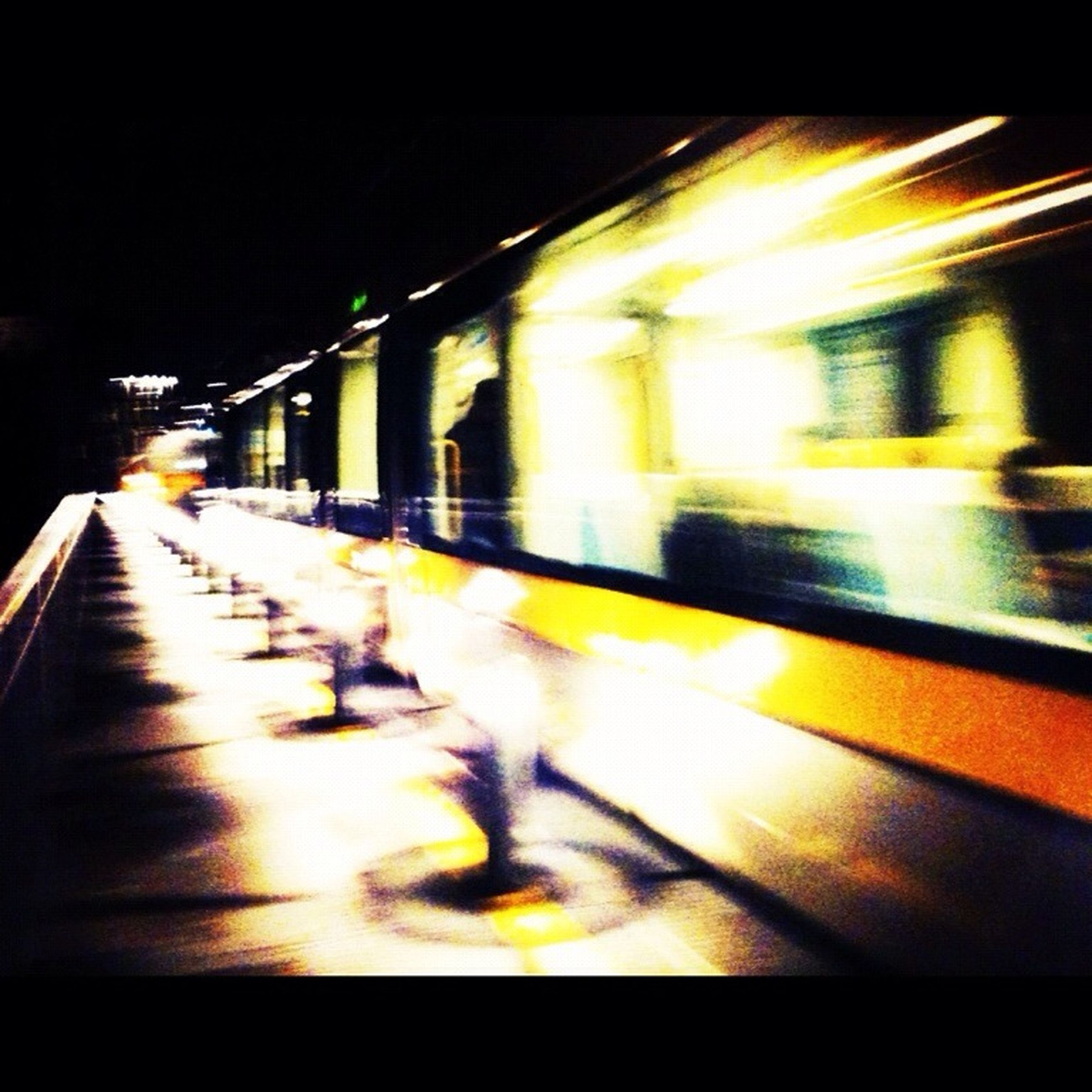 transportation, illuminated, railroad station platform, night, blurred motion, railroad station, public transportation, speed, railroad track, rail transportation, motion, mode of transport, on the move, train - vehicle, travel, subway station, train, long exposure, the way forward, passenger train