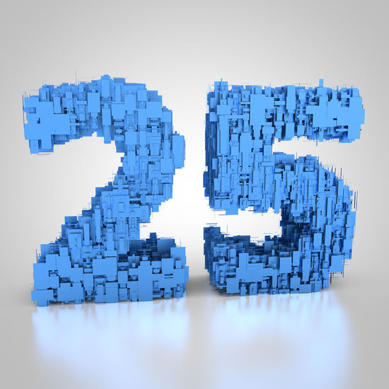 3D rendering: 25 years 2⃣5⃣ 3D 3d Rendering Blue Digits Number Rendering Tech Technical Technics Technological Technology Twenty-fifth Twenty-five Year Years