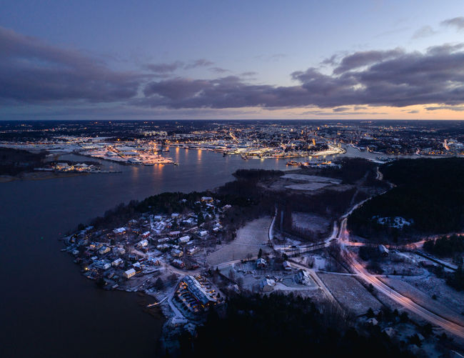Aerial view of city at waterfront
