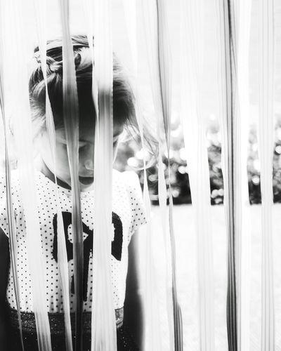 DIVIDED| Curtain Day Close-up Fresh On Eyeem  One Girl Only EyeEm Selects Freshness Lightroom Life Summer EyeEm Gallery EyeEm Best Shots EyeEm Best Edits Outdoors People Beauty Childhood Girls Portrait Child Closeup Headshot Blackandwhite Black And White Breathing Space