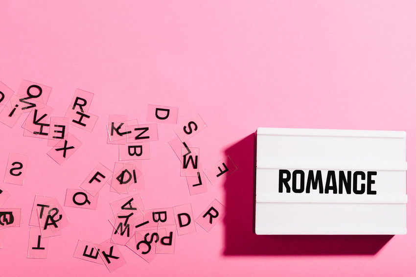 Communication Text Word Header Headline Title Copy Flat Lay Light Box Colorful Bright Message Colored Background Romance Category Film Movies Writing Reading Author Pink Background Pink Color