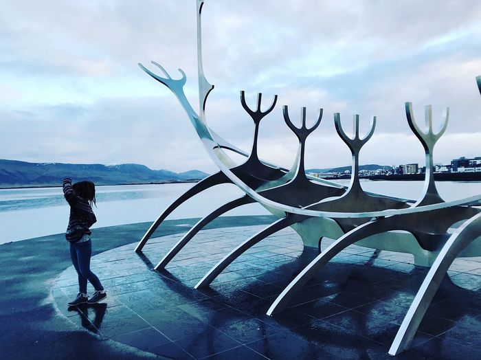 💙 Vicking Iceland Escultura Cloud - Sky Sky Water Real People Nature One Person Sea Scenics - Nature Outdoors