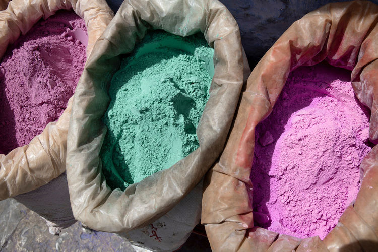 High angle view of multi colored powder