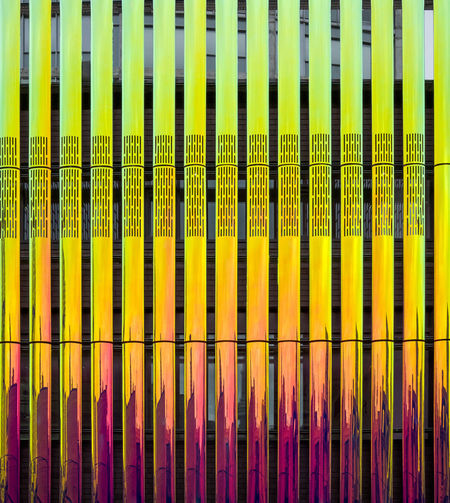 Facade Detail of Iridescent brise soleil Architecture EyeEmNewHere Façade Gold Mirror Spectrum Backgrounds Brisé Close-up Colorful Day Design Detail Dichroic Full Frame Indoors  Iridescent  Lime Magenta Metallic Multi Colored No People Reflective Soleil Yellow