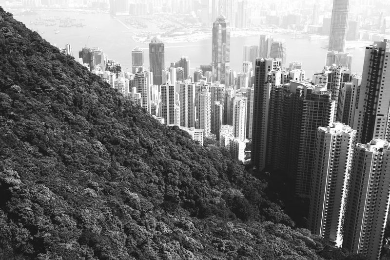 Man vs. Nature City Skyscraper Architecture Building Exterior Built Structure Tall - High Modern Tower Water Cityscape Growth High Angle View Urban Skyline Development Building Story Office Building Tall Financial District  City Life Outdoors HongKong Victoria Peak, Hongkong Vuctoriapeak Fujifilm Xm1