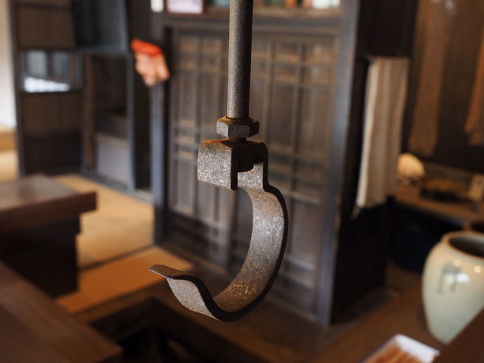 Close-up of metal hook at home