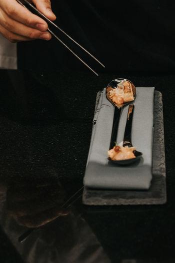 High angle view of preparing food