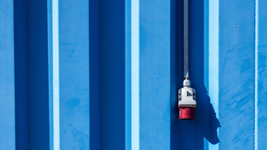 Marcweberde Blue Security No People Day Safety Protection Metal Built Structure Wall - Building Feature Architecture Red Building Exterior Outdoors Close-up Connection Technology Communication Focus On Foreground White Color Pattern