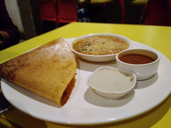 Dosa - South Indian Food Food Foodphotography EyeEmNewHere EyeEm Selects Smartphonephotography Dosa Chutney Pickles Plate Indian Food Serving Dish