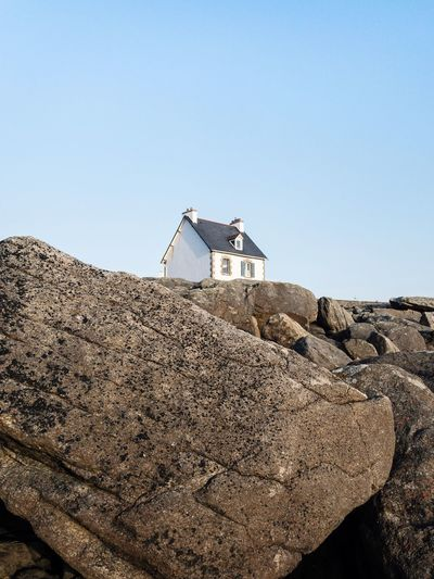 Iphoneonly Mobilephotography IPhoneography IPhone Bretagne Brittany Minimalism Minimal Isolated Boulders Rocks House Sky Day Clear Sky Nature Copy Space No People Land Architecture Built Structure Beach Sunlight Outdoors