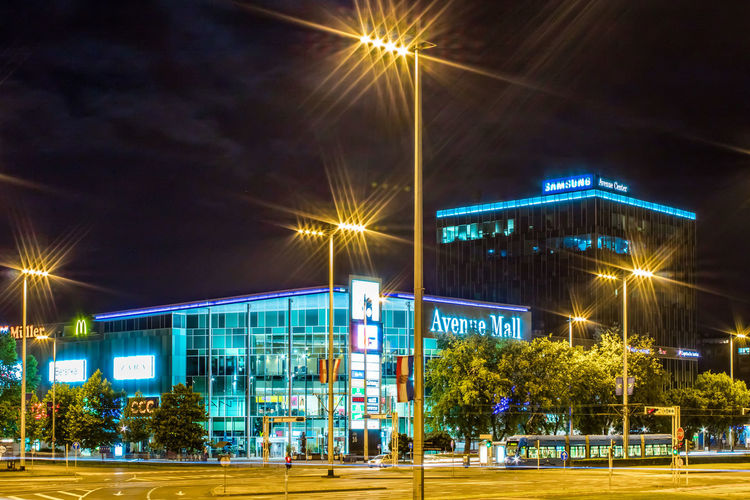 Avenue Mall Zagreb Zagreb, Croatia Zagreb Night Mall Tramway Shopping Mall Illuminated Soccer Field Arts Culture And Entertainment Sky Office Building Building Residential Structure Building Exterior Residential Building Exterior
