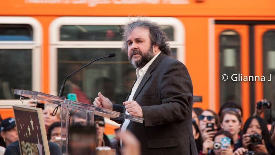 Director Peter Jackson (Lord of the Rings, The Hobbit) speaks to a crowd of thousands, gathered to watch him receive a Star on The Hollywood Walk of Fame, December 8, 2014. The Photojournalist - 2016 EyeEm Awards Photojournalism Photojournalist Lord Of The Rings Director