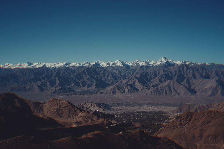 Leh , India. Travel Aroundtheworld Fujixt10 India Leh Ladakh.. Mountain Snow Clear Sky Blue Snowcapped Mountain Sky Landscape Mountain Range Hiker Natural Landmark