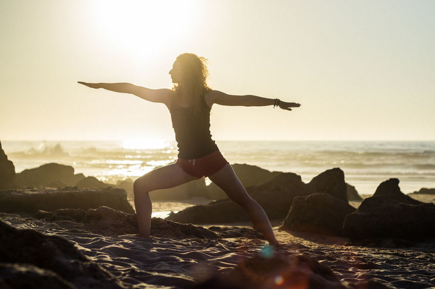 Yoga Lifestyle Beach Beach Yoga Healthy Lifestyle Lifestyles Nature Outdoors Sun Sunset Vitality Woman Yoga Yoga Pose