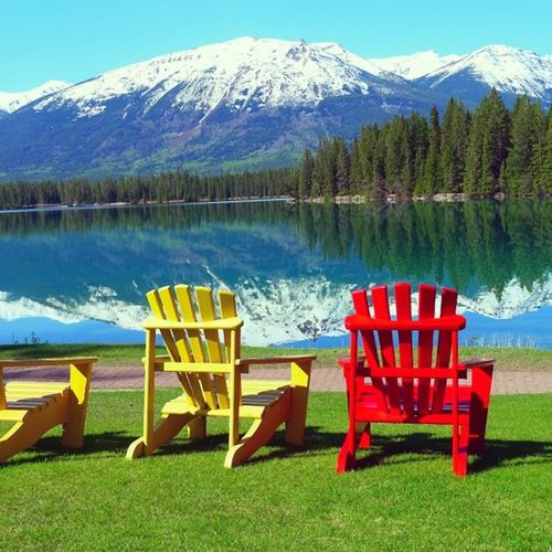 With a view like that, who wouldn't want to gaze into the lazy bliss of nature? Travel Vacation Nature Sky lake trees flowers skylovers skypainters mothernature ladd00 roadtrip wilderness canada explorecanada travelcanada rockies explorealberta ab alberta banff lakelouise chateau
