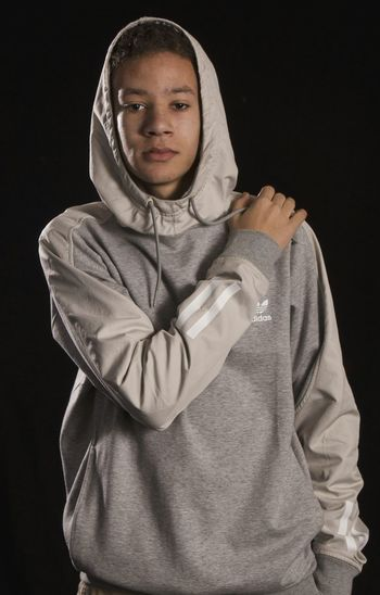 Adidas Black Background Portrait Studio Shot Hood - Clothing Looking At Camera Adults Only Hooded Shirt One Person People Young Adult Dark Adult Only Women Close-up Model Black Background Mature Adult Only Men Fashion Studio Adidas Adidasoriginals Adidas Originals Portrait Photography Studio Photography