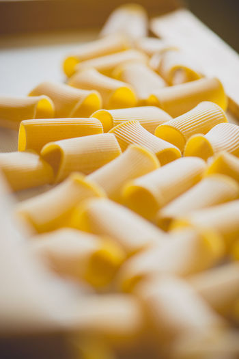 High angle view of pasta on machinery