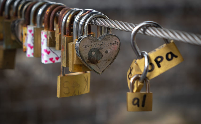 Dutch Landscape Hanging Padlock Love Safety Lock Security Positive Emotion Heart Shape Metal Love Lock Protection Emotion Close-up Railing Luck Hope - Concept Communication Text Focus On Foreground No People Outdoors