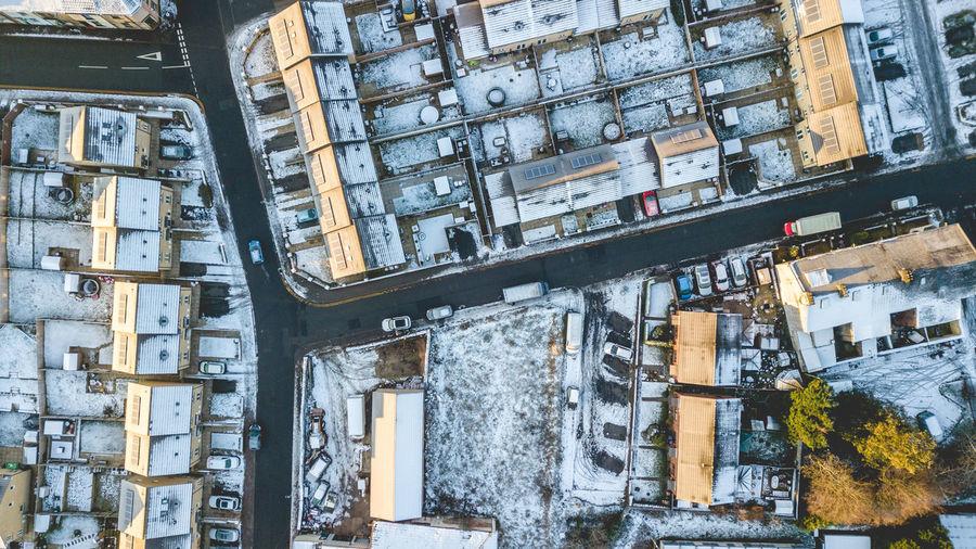 Top view Mavic pro Darwen DJI Mavic Pro Dji High Angle View DJI X Eyeem 2018 Houses Winter Snow ❄ Icy Topview Sunlight Colour Blue Shades Of Winter