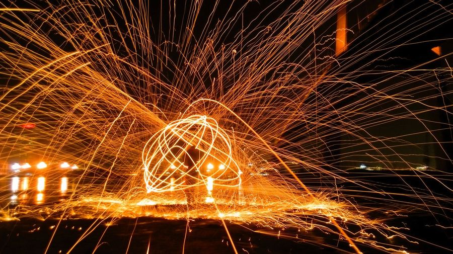 Low Angle View Of Wire Wool At Night