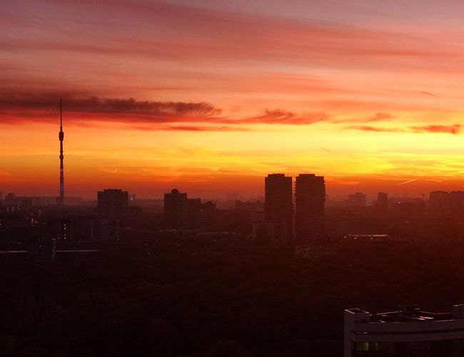 Incredible sunrise over Moscow Ostankino останкино Beautiful Sky Red Sky Red October Красный Октярбь рассвет Москва Moscow Sunset Architecture Sky Built Structure City Orange Color Building Exterior EyeEmNewHere