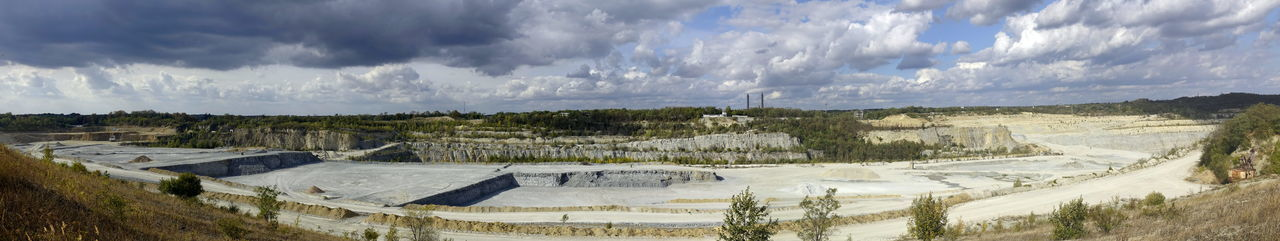 Kalkstein Tagebau Chalk Pit Mine Cloud - Sky Sky Panoramic Environment Landscape Scenics - Nature Nature Day No People Plant Outdoors Beauty In Nature Tree Tranquil Scene Architecture Tranquility Land Horizon Over Land Rural Scene