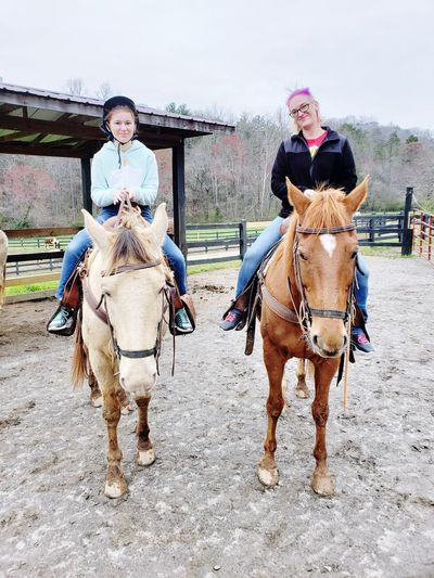 mother daughter day Full Length Togetherness Portrait Young Women Looking At Camera Riding Front View Pets Horse Horseback Riding Saddle Stable Mane Animal Pen EyeEmNewHere