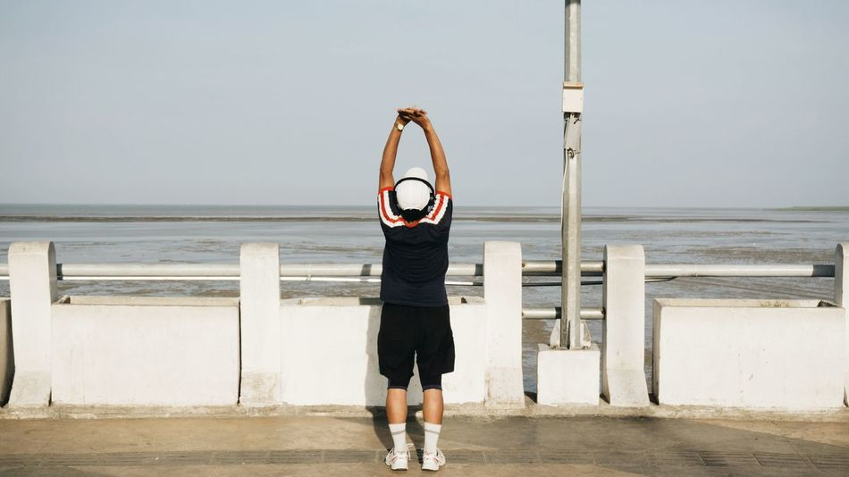 Living healthy life. September 2017. Second Acts Beach Water Sport Adult One Man Only Exercising Only Men One Person Sports Clothing Day Standing Men Outdoors Surabaya INDONESIA
