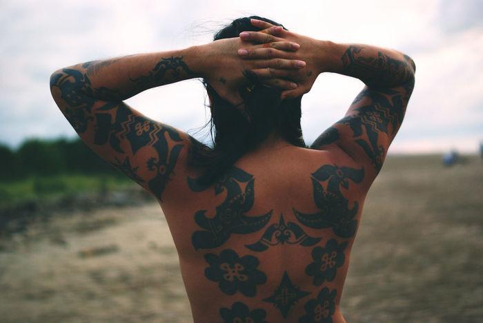 Iban Tattoo Design Asian Culture Beach Borneo Borneophoto_hunter Close-up Human Body Part Human Hand Iban Kuching#borneo#sarawak Lifestyles Men One Man Only One Person Only Men Outdoors People Sarawak Tattoo