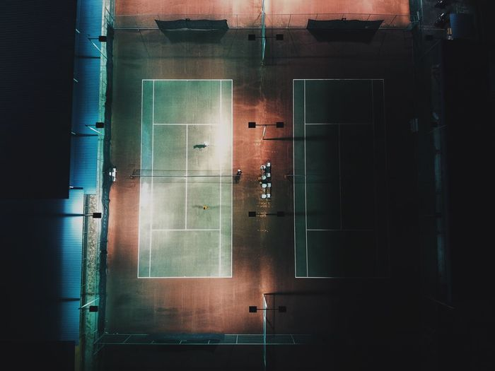 High angle view of tennis field